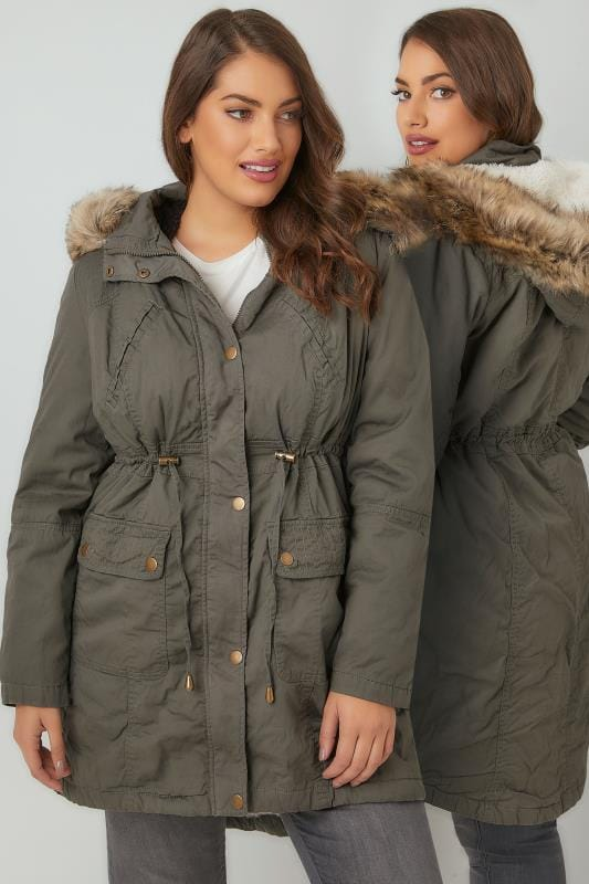 Khaki Cotton Parka With Faux Fur Trim Hood