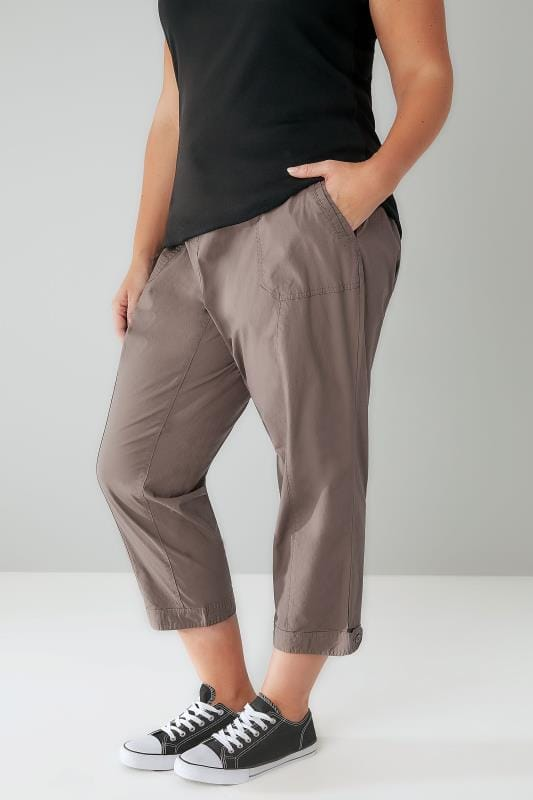 Khaki Cropped Cotton Trousers With Ribbed Waistband