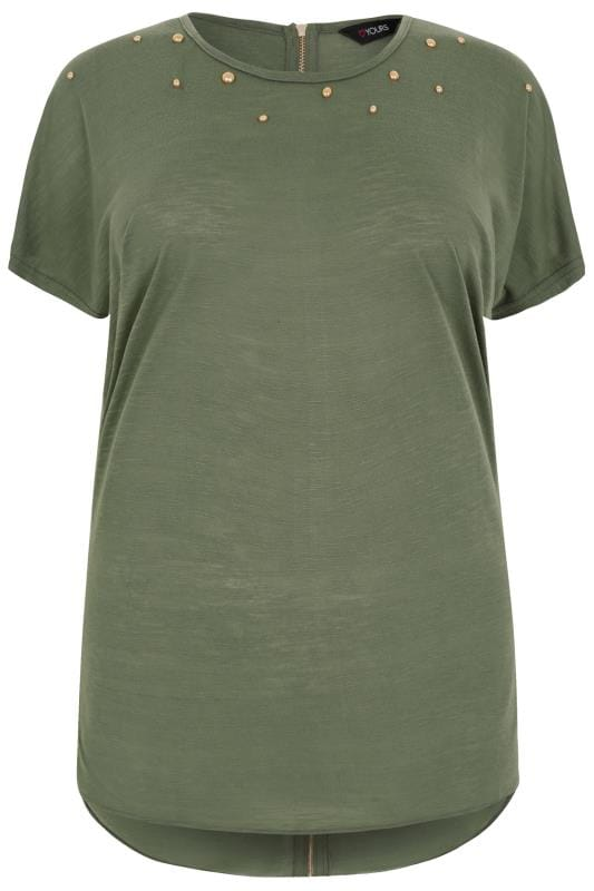 Khaki Curved Hem Top With Studded Neckline & Zip Back