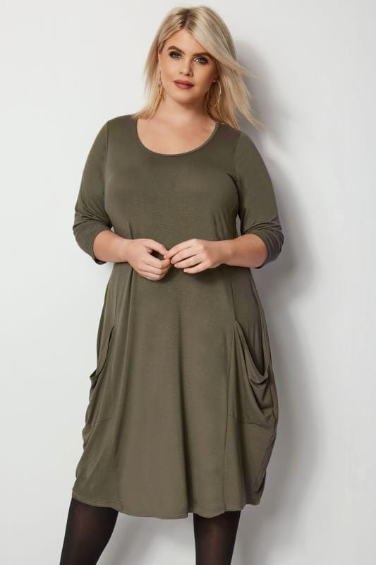 Plus Size Midi Dresses Khaki Drape Pocket Dress