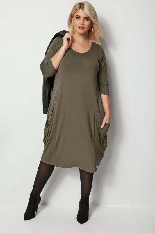 Khaki Drape Pocket Dress