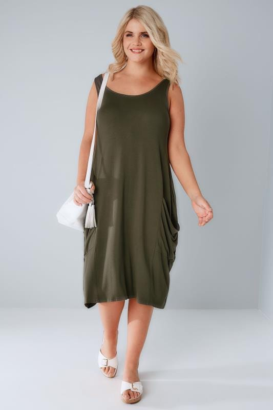 Khaki Drape Pocket Sleeveless Jersey Dress