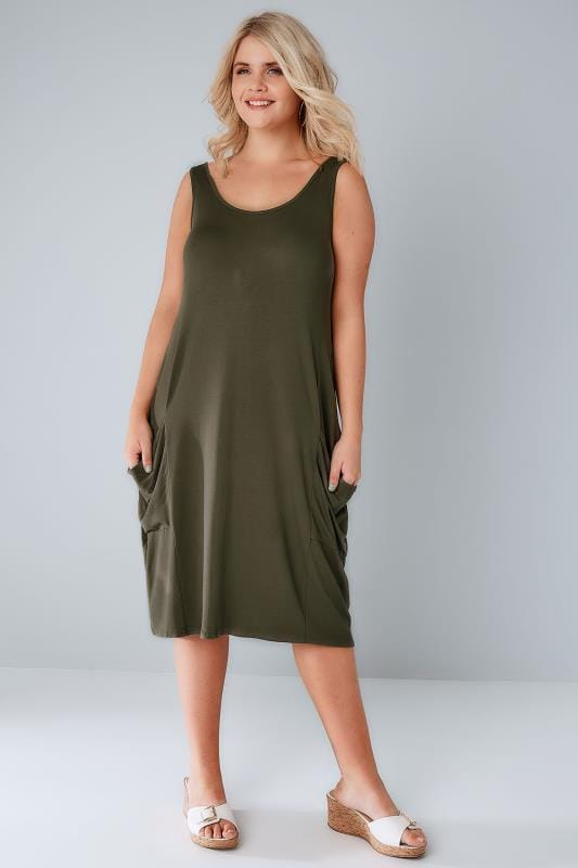 02984d68a3 Khaki Drape Pocket Sleeveless Jersey Dress Plus Size 14 to 32