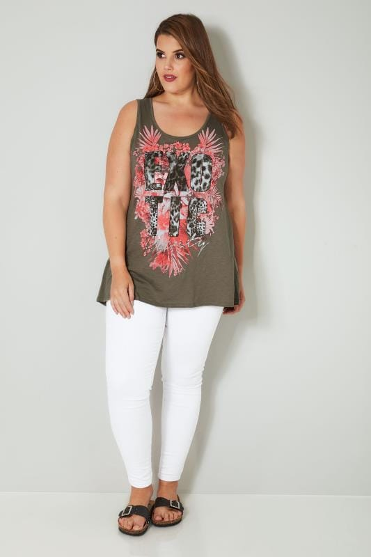 Khaki 'Exotic' Slogan Print Vest Top With Cross Over Straps