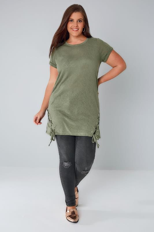 Khaki Fine Knit Top With Lace Up Hem