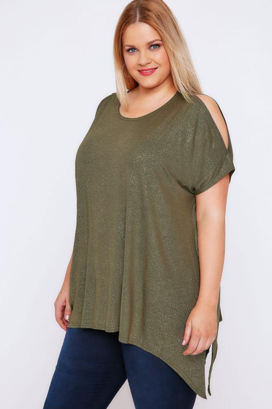 Khaki & Gold Shimmer Cold Shoulder Top