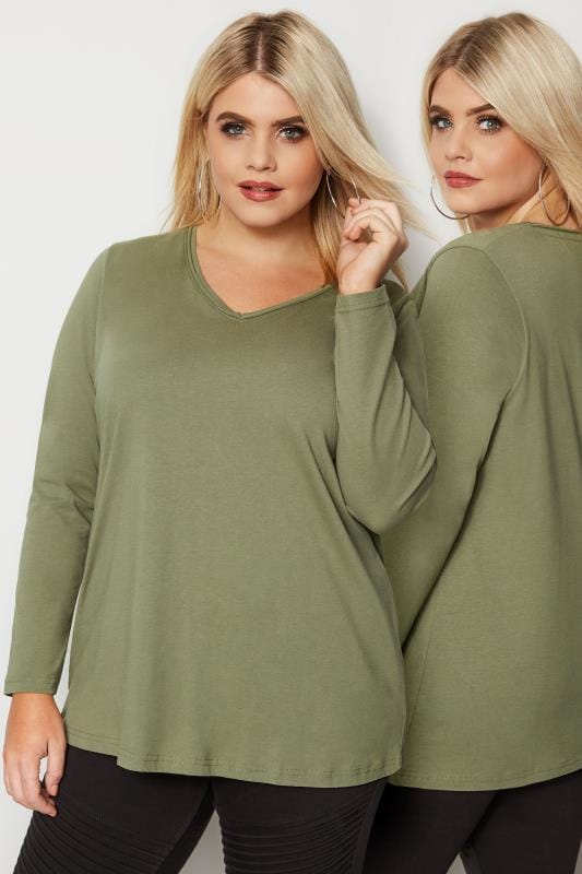Khaki Green Long Sleeved V-Neck Jersey Top
