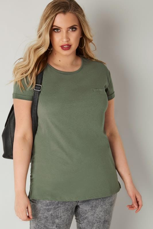 Plus Size Jersey Tops Khaki Green Mock Pocket T-Shirt With Curved Hem