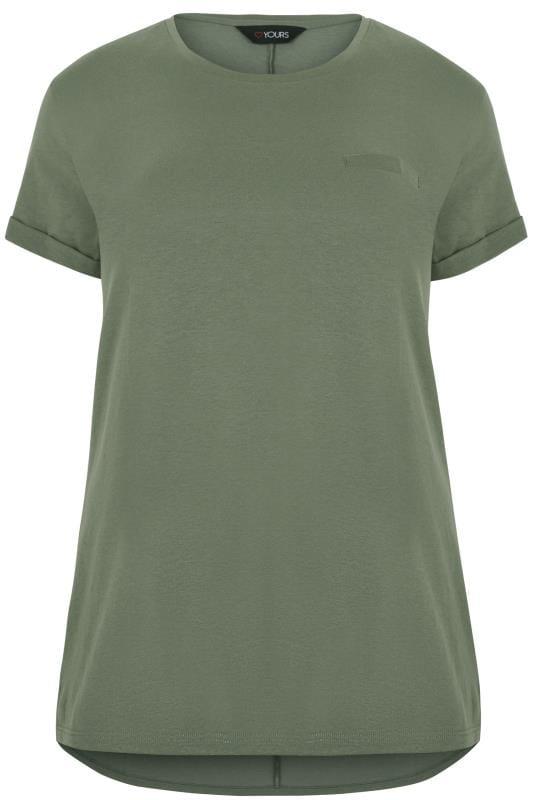 Jersey Tops Khaki Green Mock Pocket T-Shirt With Curved Hem 132622