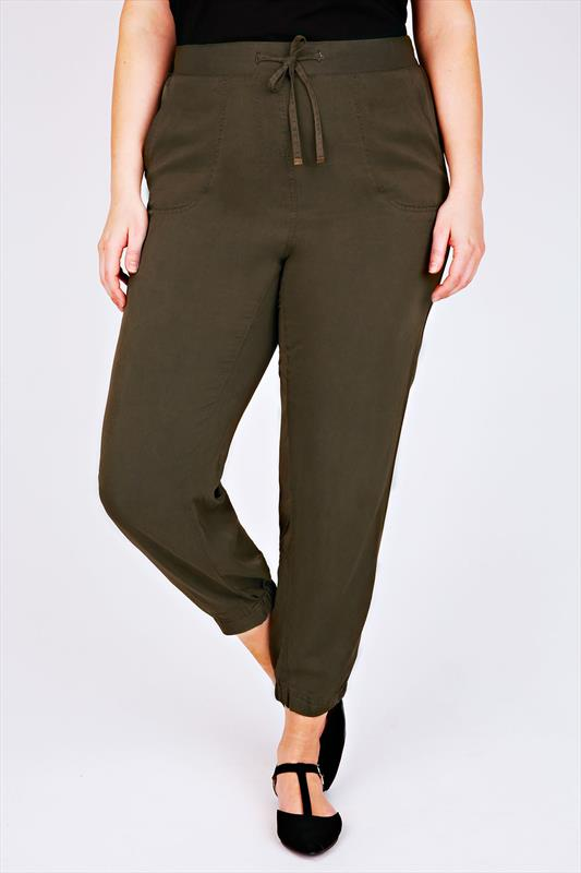 Khaki Harem Trousers With Elasticated Cuffs
