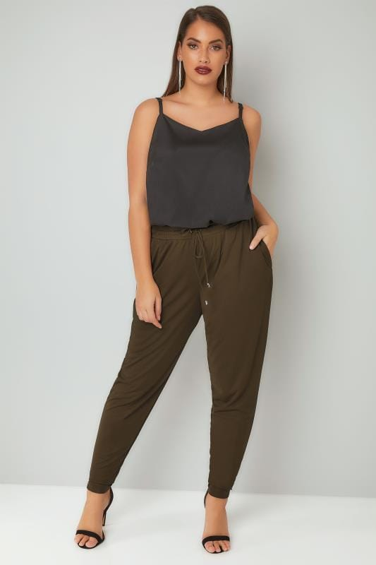 Khaki Jersey Harem Trousers With Pockets & Drawstring Waist