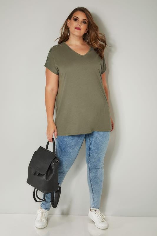 Khaki Jersey Top With Lace Eyelet Details