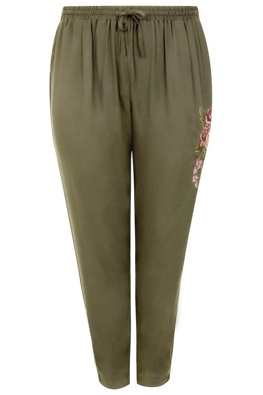 Khaki Smart Joggers With Floral Embroidered Detail