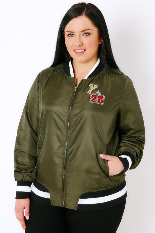 Khaki Lightweight Bomber Jacket With Badges
