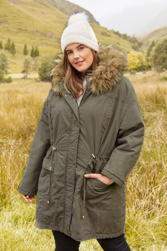 Plus Size Parka Coats Khaki Lined Parka With Faux Fur Trim Hood