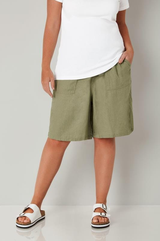 Plus Size Linen Mix Shorts Khaki Linen Mix Pull On Shorts
