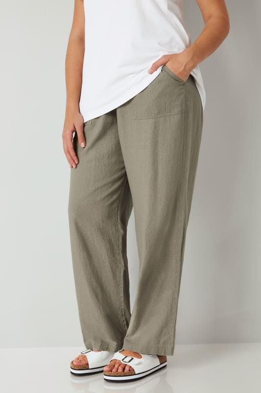 Plus Size Wide Leg & Palazzo Trousers Khaki Linen Mix Pull On Wide Leg Trousers
