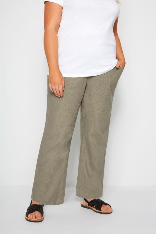 0e1df81786495 Plus Size Linen Mix Trousers Khaki Linen Mix Wide Leg Trousers