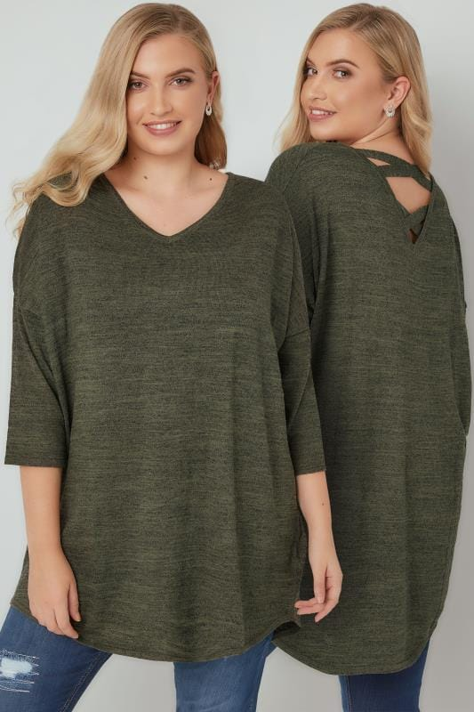 Plus Size Dipped Hem Tops Khaki Longline Knitted Top With Cross Over Straps