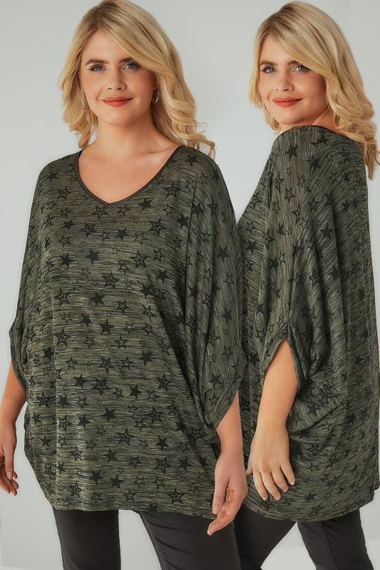 Khaki Longline Star Print Cocoon Style Top