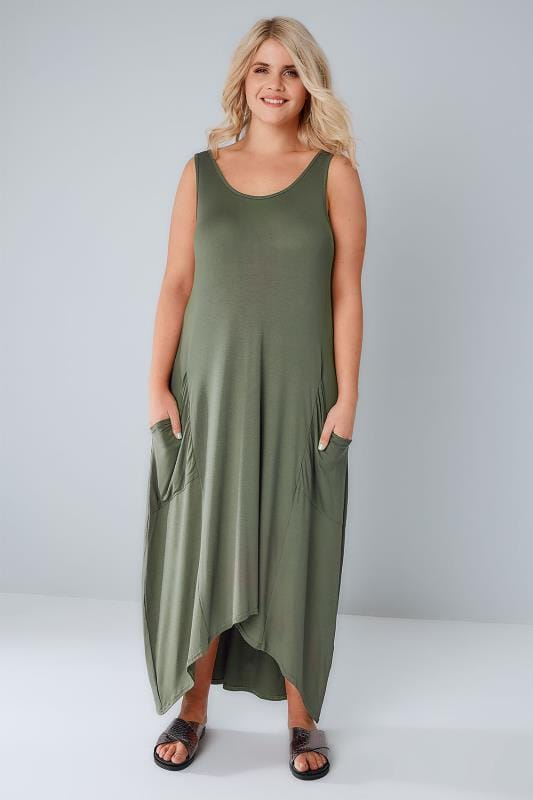 Khaki Maxi Dress With Drop Pockets & Dipped Hem