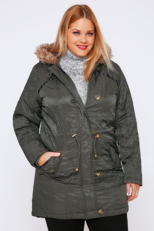 Khaki Metallic Parka Coat With Faux Fur Hood