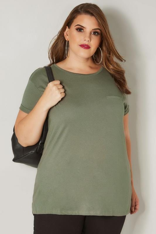 Khaki Mock Pocket T-Shirt