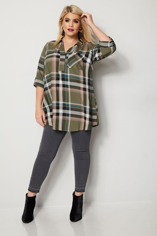 Khaki Oversized Check Shirt
