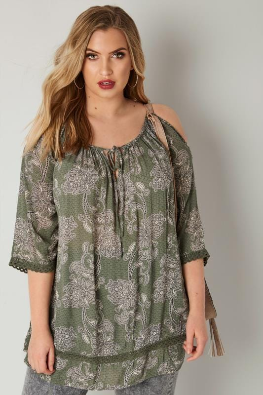 Plus Size Bardot & Cold Shoulder Tops Khaki Paisley Print Top With Cold Shoulder Cut Outs