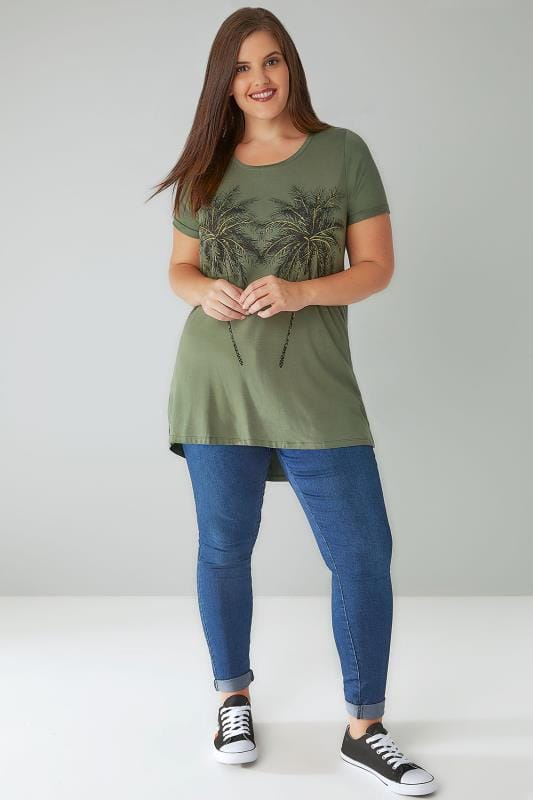Khaki Palm Print T-Shirt With Silver Glitter Detail