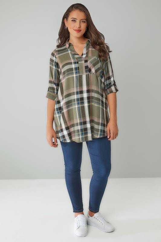 Khaki & Pink Oversized Checked Shirt With V-Neck