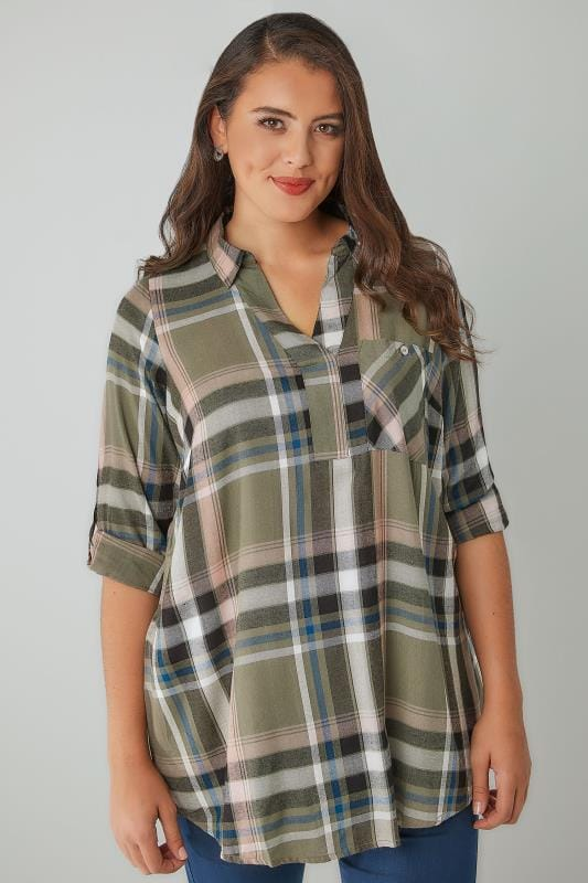 Blouses & Shirts Khaki & Pink Oversized Checked Shirt With V-Neck 130134