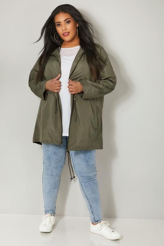 Khaki Pocket Parka Jacket With Hood