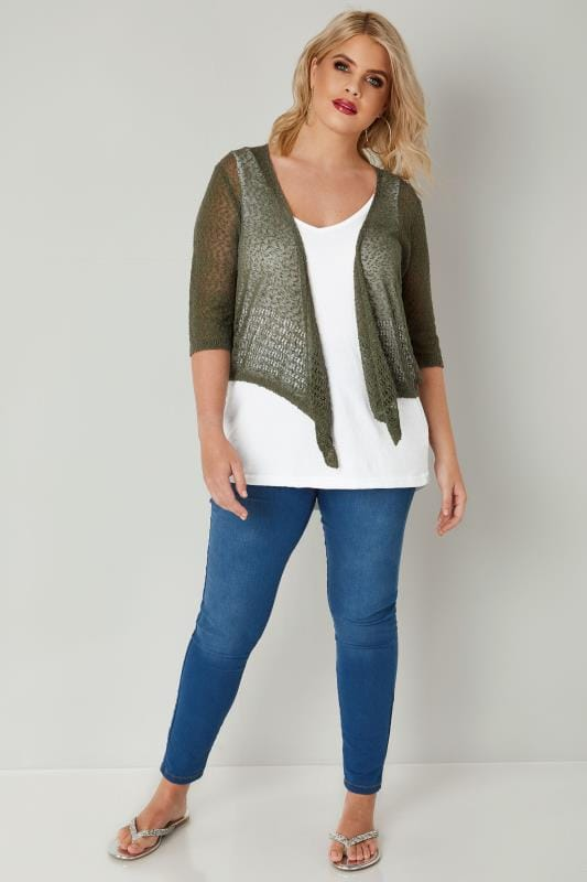 Khaki Popcorn Crochet Cropped Shrug
