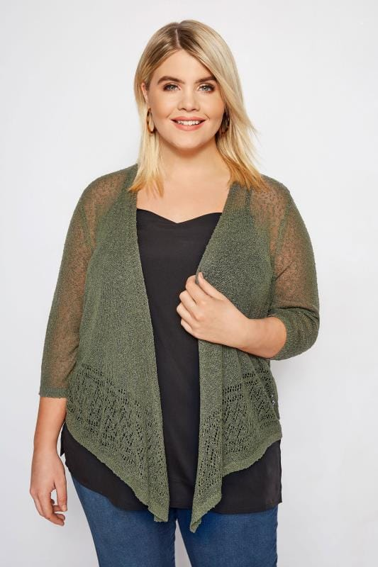 Plus Size Shrugs Khaki Popcorn Cropped Shrug
