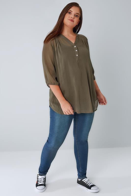 Khaki Sheer Chiffon Button-Up Blouse With 3/4 Length Sleeves