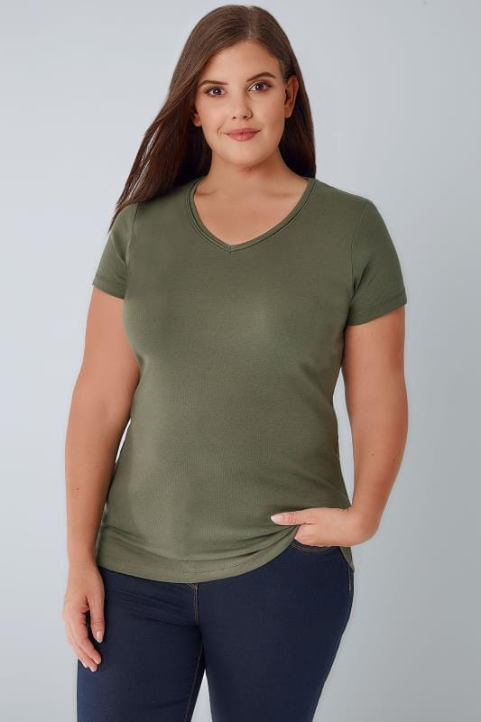 Plus Size T-Shirts Khaki Short Sleeved V-Neck Basic T-Shirt
