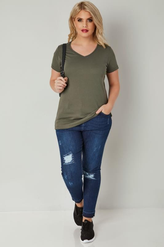 Khaki Short Sleeved V-Neck Basic T-Shirt