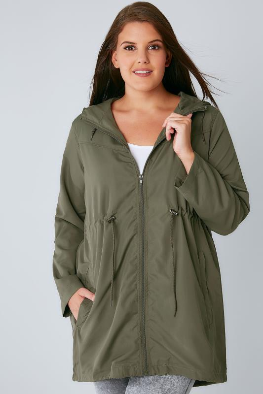Plus Size Parka Coats Khaki Pocket Parka Jacket With Hood