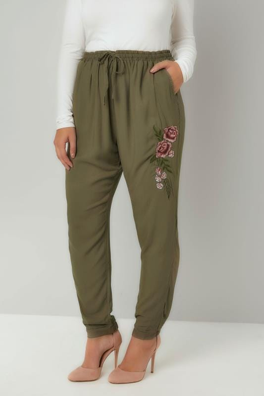 Plus Size Tapered & Slim Fit Trousers Khaki Smart Joggers With Floral Embroidered Detail