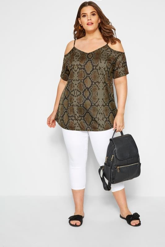 Plus Size Bardot & Cold Shoulder Tops Khaki Snake Print Cold Shoulder Top