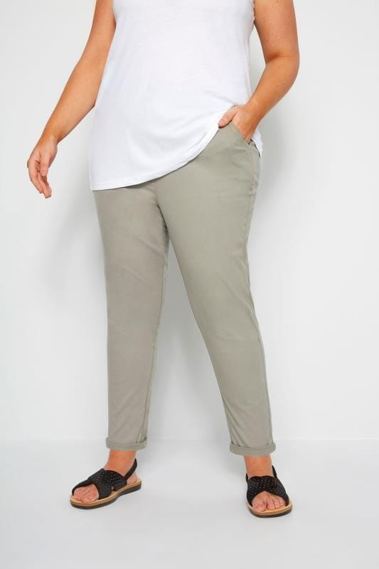 Plus Size Tapered & Slim Fit Pants Khaki Stretch Chino Trousers