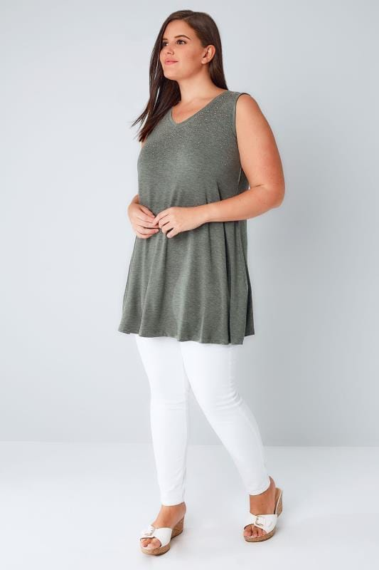 Khaki Stud Embellished Fine Knit Sleeveless Swing Top