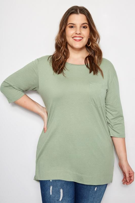 Plus Size Basic T-Shirts & Vests Khaki Top With Chest Pocket