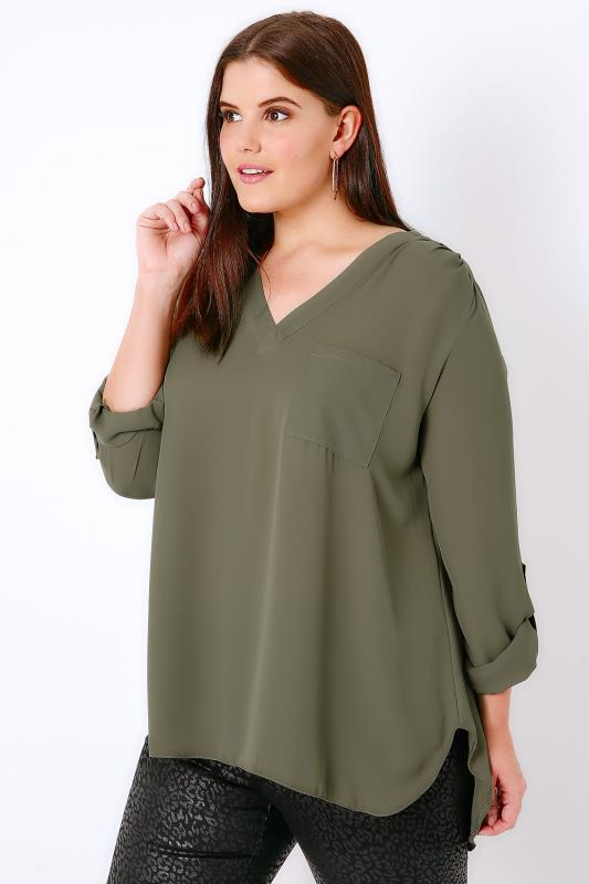 Khaki V-Neck Blouse With Roll Up Sleeves & Pocket Detail