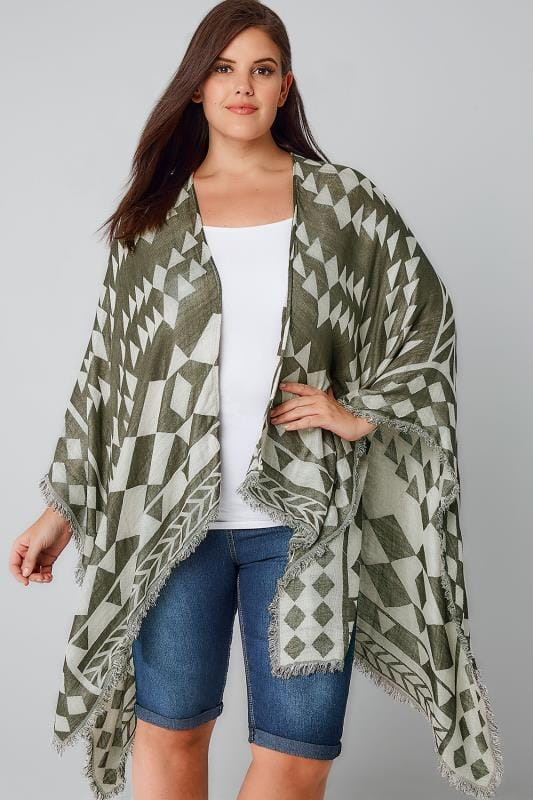 Capes Khaki & Weiß Muster Wrap 170128