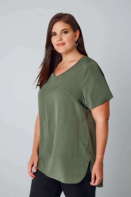 Khaki Woven Top With V-Neck & Curved Hem