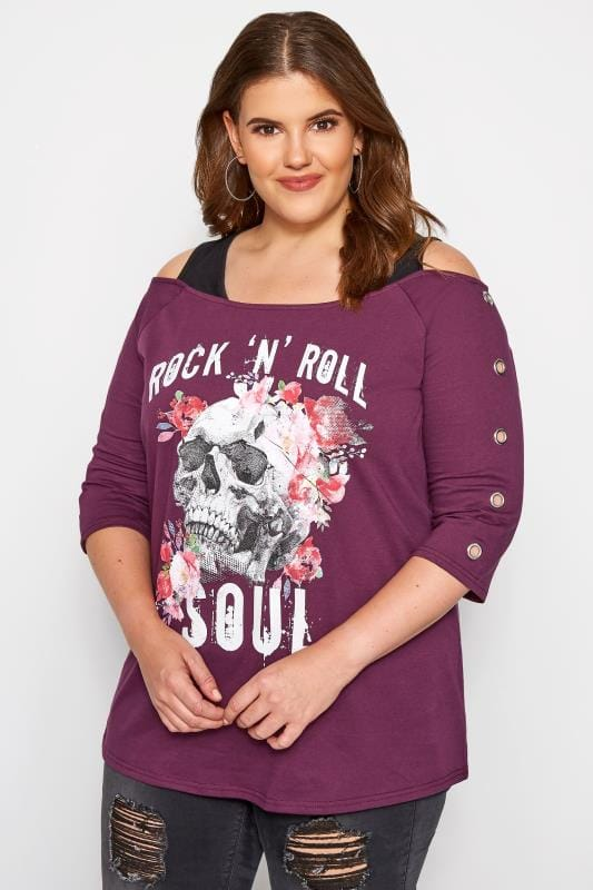 Plus Size Jersey Tops Purple Cold Shoulder Slogan Top