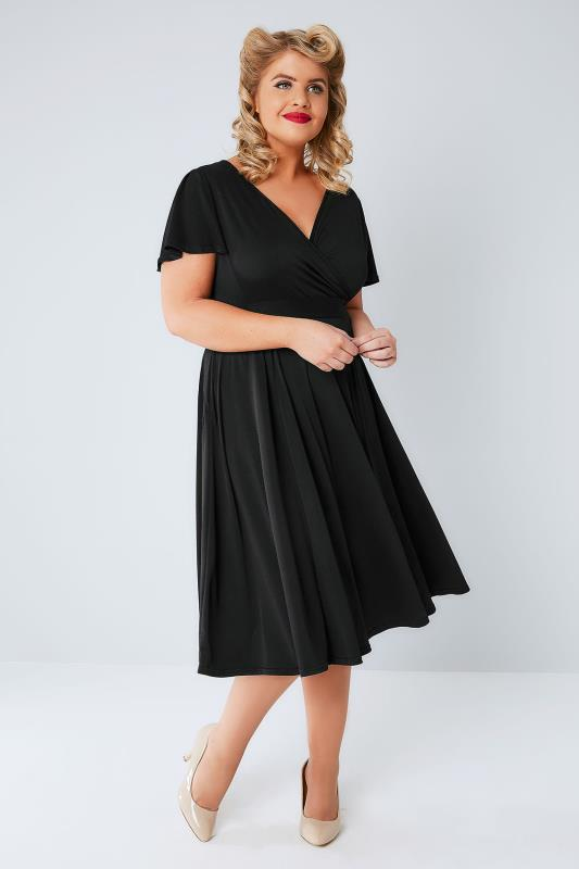 LADY VOLUPTUOUS Black Lyra Wrap Dress, Plus size 16 to 32