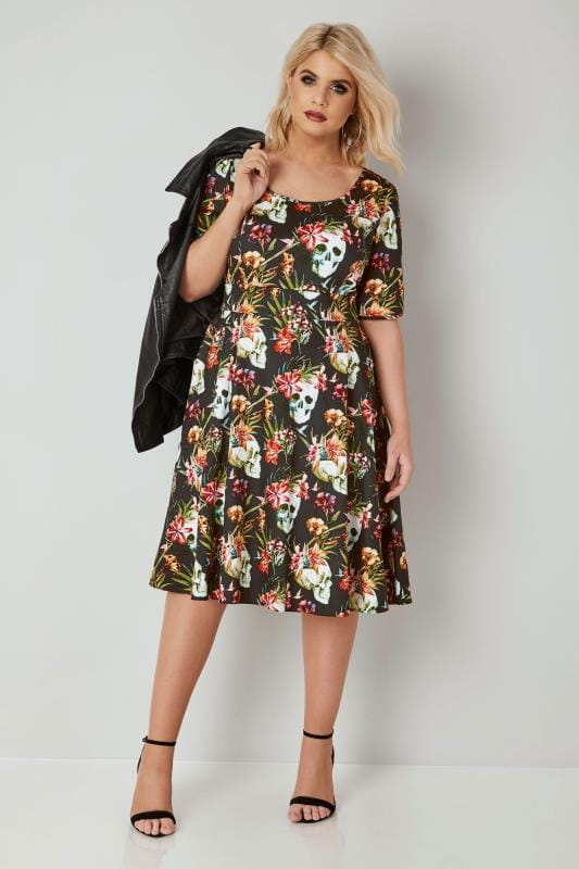 LADY VOLUPTUOUS Black & Multi Floral & Gothic Print Vivien Dress